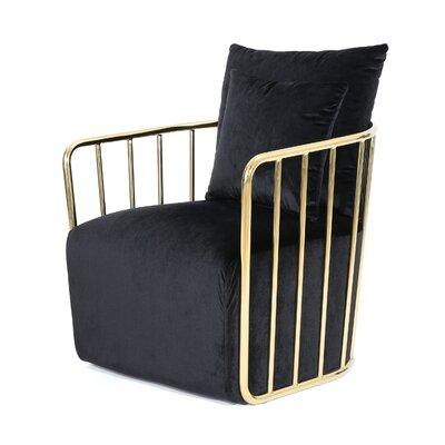 La Mott Modern Velvet Armchair Upholstery: Black/Gold