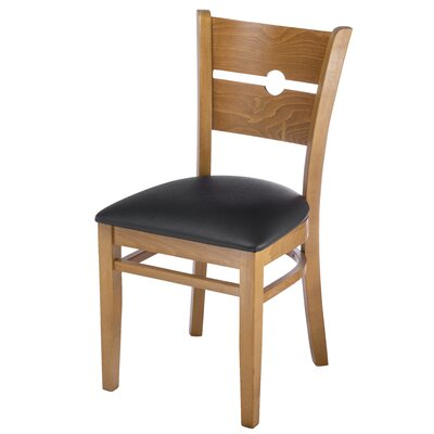 Northtrop Coinback Upholstered Dining Chair Upholstery Color: Black, Frame Color: Cherry