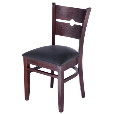 Northtrop Coinback Upholstered Dining Chair Upholstery Color: Black, Frame Color: Dark Mahogany