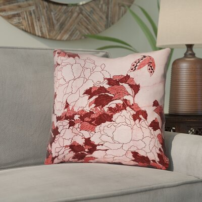 Clair Peonies and Butterfly Indoor Throw Pillow Size: 26 H x 26 W, Color: Red