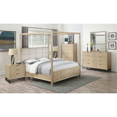 Holmquist Upholstered Canopy Bed Size: King