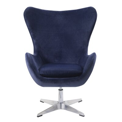 Heid Swivel Wingback Chair Finish: Blue