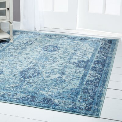 Starlight Border Blue Indoor/Outdoor Area Rug Rug Size: Rectangle 52 x 72