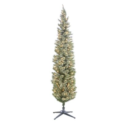 "Cashmere Pencil 84"" Green Pine Artificial Christmas Tree with 210 Clear/White Lights 09A68C45C1B2415CB67CEF9A9169620A"