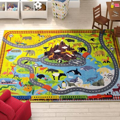 Weranna Animal Safari Road Map Educational Learning Yellow/Blue Indoor/Outdoor Area Rug Rug Size: 82 x 910