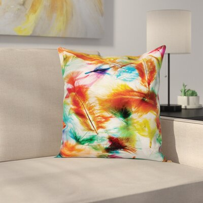 Fabric Case Puffy Feathers Square Pillow Cover Size: 16 x 16