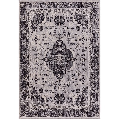Starlight Medallion Gray Indoor/Outdoor Area Rug Rug Size: Rectangle 52 x 72