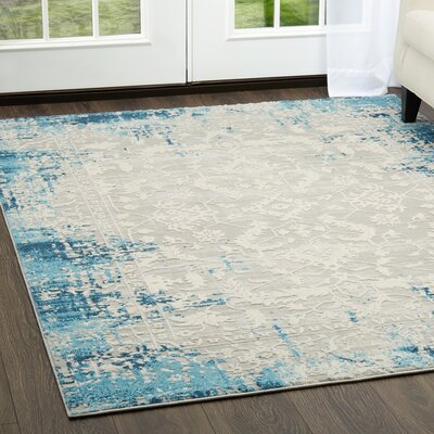 Glidden Antiqued Border Blue Area Rug Rug Size: Rectangle 22 x 79