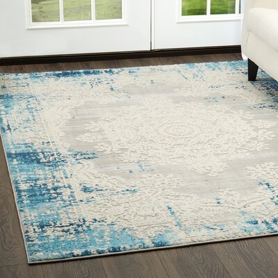 Glidden Distressed Medallion Blue Area Rug Rug Size: Rectangle 79 x 102
