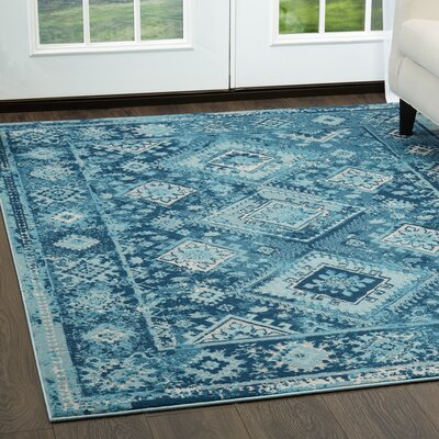 Mahn Tribal Blue Area Rug Rug Size: Rectangle 33 x 46