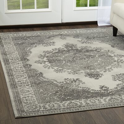 Lahey Distressed Medallion Gray Area Rug Rug Size: Rectangle 79 x 102