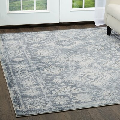 Mahn Blue Area Rug Rug Size: Rectangle 79 x 102