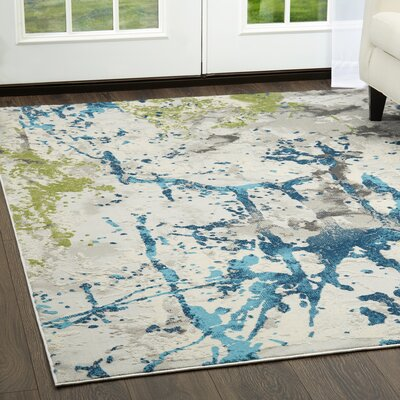 Eisner Abstract Gray/Blue Area Rug Rug Size: Rectangle 79 x 102