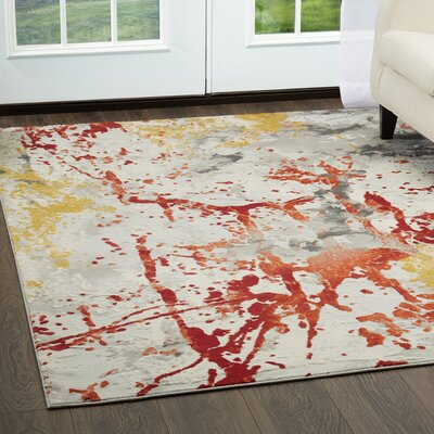 Eisner Abstract Gray/Orange/Yellow Area Rug Rug Size: Rectangle 79 x 102