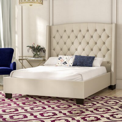 Olle Tufted Upholstered Panel Bed Size: Queen, Color: Tan
