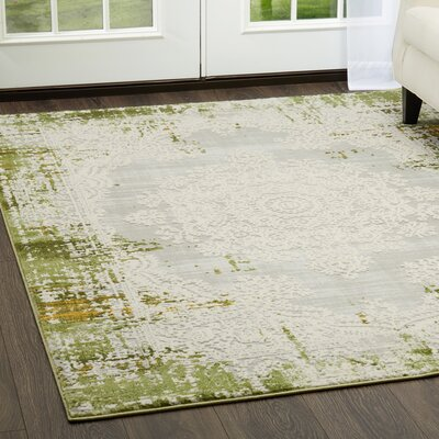 Glidden Distressed Medallion Green Area Rug Rug Size: Rectangle 110 x 28