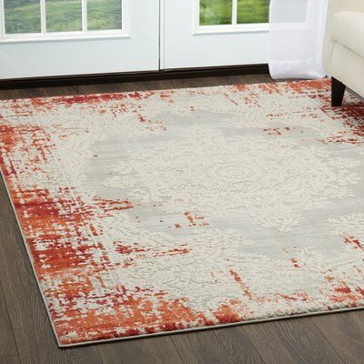 Glidden Distressed Medallion Red Area Rug Rug Size: Rectangle 79 x 102