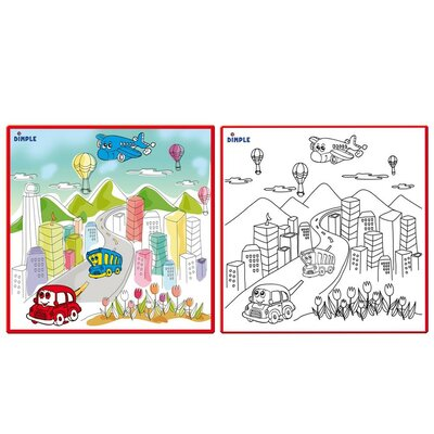 Dimple - Kids Small Washable Colouring Play Mat with Bustling 'City Life' Design, Along with 12 Washable Markers, 'the Perfect Alternative for Colouring Books' Great for Boys & Girls by Dimple DC12395