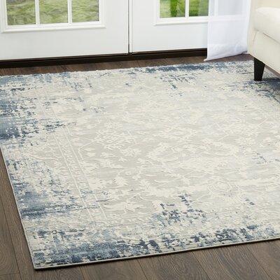 Glidden Soft Antiqued Border Blue Area Rug Rug Size: Rectangle 52 x 72