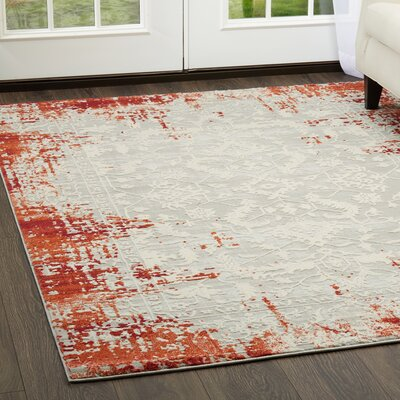 Glidden Antiqued Border Red Area Rug Rug Size: Rectangle 79 x 102