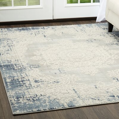 Glidden Soft Distressed Medallion Blue Area Rug Rug Size: Rectangle 52 x 72