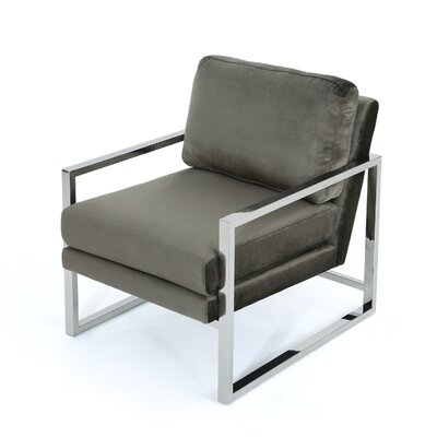 Hayek Modern Armchair Upholstery: Gray/Chrome