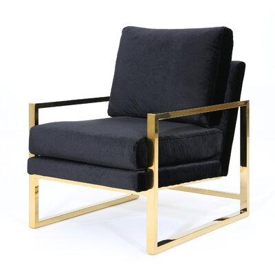 Hayek Modern Armchair Upholstery: Black/Gold