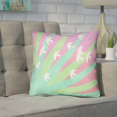 Enciso Birds and Sun 100% Cotton Throw Pillow Color: Blue/Orange, Size: 14 x 14
