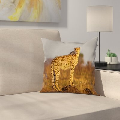 Safari African Wild Cheetah Square Pillow Cover Size: 16 x 16