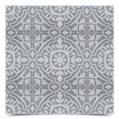Baha 8 x 8  Cement Field Tile in Gray/Off-White