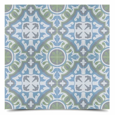 Baha 8 x 8  Cement Field Tile in Blue/Green