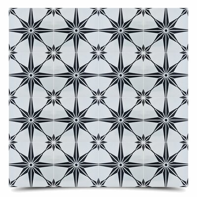 Tafilalt 8 x 8 Cement Field Tile in Black/Gray