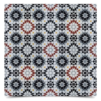 Safi 8 x 8 Cement Field Tile in Black/Gray
