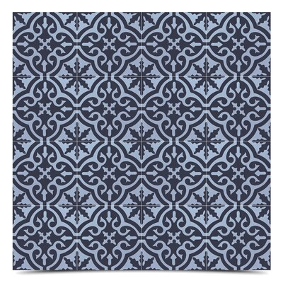 Argana 8 x 8 Cement Field Tile in Blue/Black