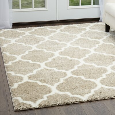 McSpadden Trellis Beige/White Area Rug with Rug Pad Rug Size: Rectangle 53 X 72