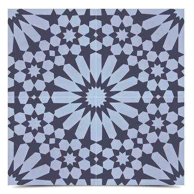 Agdal 8 x 8  Cement Field Tile in Gray/Black