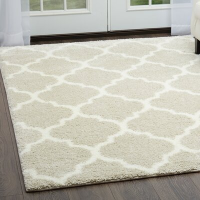 McSpadden Trellis Gray/White Area Rug with Rug Pad Rug Size: Rectangle 53 X 72