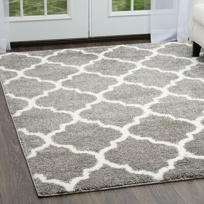 McSpadden Trellis Shag Gray/White Area Rug with Rug Pad Rug Size: Rectangle 53 X 72