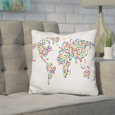 Corlew World Map Cats Throw Pillow Color: White/Blue