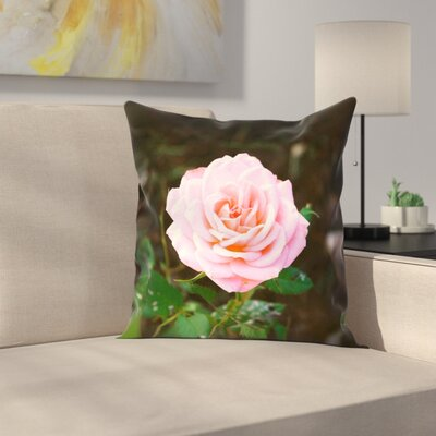 Rose Linen Pillow Cover Size: 18 x 18