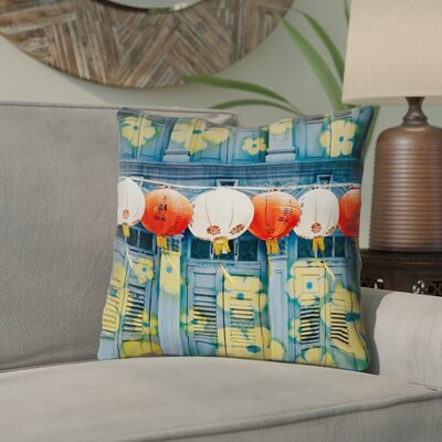 Akini Lanterns in Singapore Throw Pillow with Zipper Size: 20 x 20