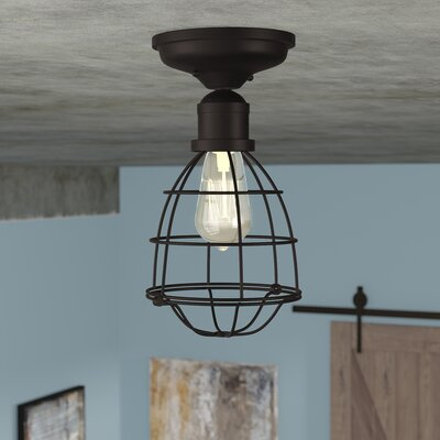 Evergreen 1-Light Semi Flush Mount Finish: English Bronze