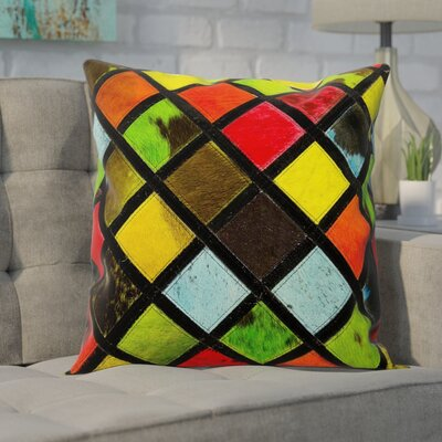 Natural Leather Hide Throw Pillow Color: Multi