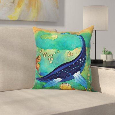 Dinosaur Ancient Sea Creature Square Cushion Pillow Cover Size: 24 x 24