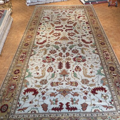One-of-a-Kind Pellegrino Serapi Heriz Hand-Knotted Wool Sky Blue Area Rug