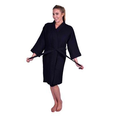 Lowrey Natural Soft Cotton Waffle Kimono Bathrobe Color: Black
