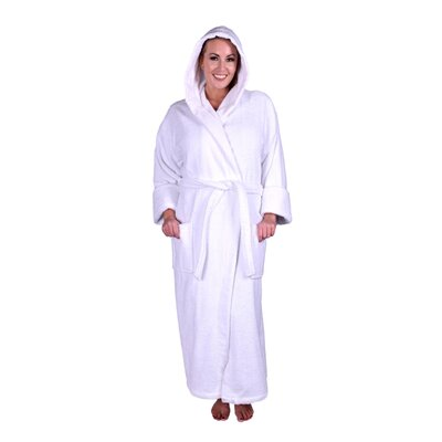Lowrey Natural Soft Cotton Hooded Bathrobe Color: White