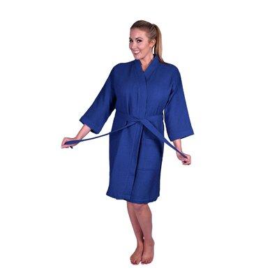 Lowrey Natural Soft Cotton Waffle Kimono Bathrobe Color: Navy Blue