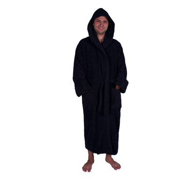 Lowrey Natural Soft Cotton Hooded Bathrobe Color: Black