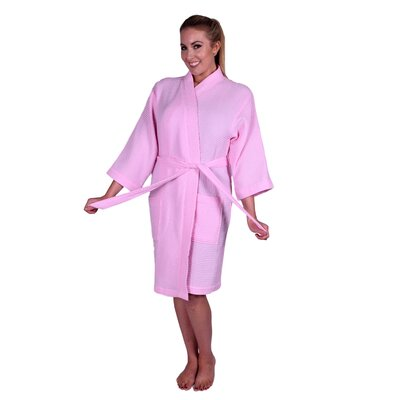 Lowrey Natural Soft Cotton Waffle Kimono Bathrobe Color: Light Pink